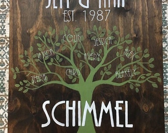 Family Tree Sign, 24 X 24 , Wood Sign, Custom, Hand Made, Family Tree, Family, Established Date, Home Decor, Gift for her , Anniversary Gift