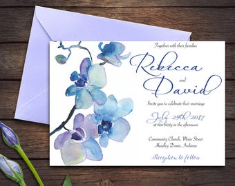 Wedding invitation | Blue orchid | Invitation | Edit Yourself | Template | Digital Download | DIY |