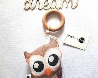 Owl, Baby toy,Eco friendly chew,Teething, Linen teething, Babyshower gift, Baby gift,Organic Chews, Animal chew for baby, Baby teething