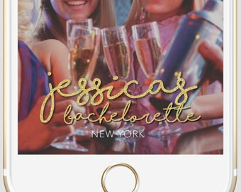 Snapchat Geofilter, customized bachelorette party geofilter, gold glitter geofilter
