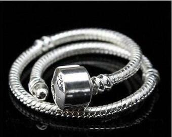 Pandora Style Bracelet  //  Bright Silver Plated Snake Chain  //  European Charms Bracelet  //  1 Bracelet  //  Murano and Lampwork inspired
