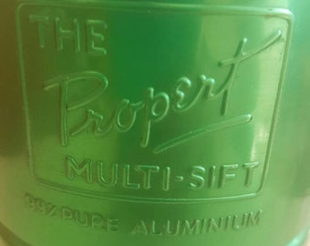 Reserved for Mandi** Vintage FLOUR Sifter - Propert Multi Sift - Green ANODISED - Sieve