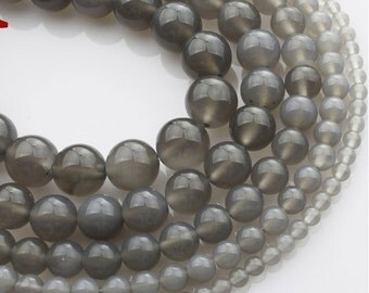 Natural Gray Agate round loose beads 16'' 4mm 6mm 8mm 10mm 12mm