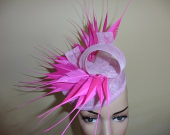 Pink Wedding Hat.Pink Ascot Race Hat.Pink Occasion Hat.Pink Pillbox Hat. Fascinator.Made for you by Harlequin Fascinators