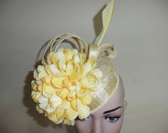 Primrose Yellow Pillbox Hat Fascinator for weddings ,Ascot Races, Occasion Hat,Christening