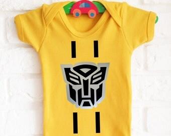 Transformers bumble bee inspired yellow bodysuit onesie. Very cute!