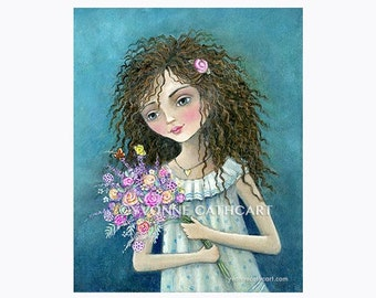 Girl print, girl art painting, kids room wall art, prints for girls, children's art, flower art, childrens prints, curly hair art, art print