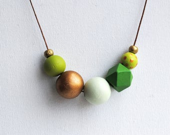 Geometric Necklace, Boho necklace, Statement Necklace, Bohemian Jewelry, Handmade necklace, Wooden necklace Green Hexagon