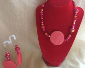 Gemstone coral lace paired with earrings