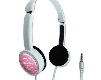 Pink Dotted Thank You Celebrating Us Personalized Travel Foldable Headphones