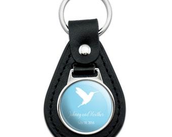 Hummingbird Blue Background Wedding Shower Personalized Black Leather Keychain