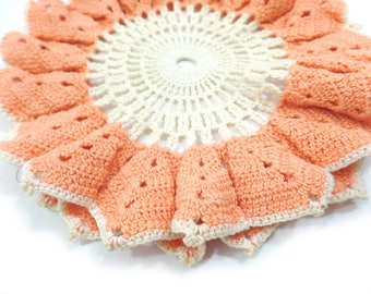 Vintage peaches and cream colored crochet round doily, vintage flower petal round doily centerpiece, handmade crochet vintage color doily