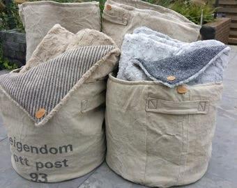 Set of two tough, vintage, postbag storage baskets; Combi price!!