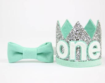 Baby Boy Birthday Party Hat | First Birthday Glitter Crown | 1st Birthday Hat | Silver + Mint ONE