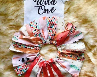 Wild One Birthday Outfit Girl, Girl First Birthday Outfit, Feather Skirt, Pink Gold Skirt, Wild One Girl Birthday, Tribal Birthday Skirt