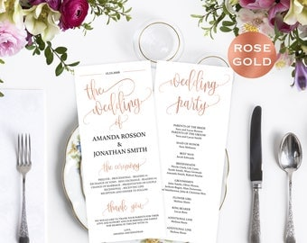 Wedding Programs Instant Download - Editable Program - Program PDF - Rose Gold Wedding Programs - Downloadable Wedding #WDH812232