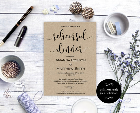 Printable Rehearsal Dinner Invitation - Kraft Rehearsal Dinner Card - Kraft Rehearsal Invitation - Downloadable wedding  #WDH0153