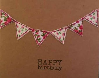 Happy birthday bunting handmade embroidery card
