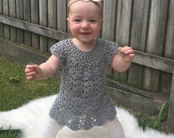 Made to order - crochet baby girl dress