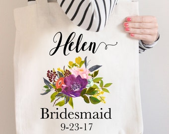 Floral Bridesmaid Tote, Custom Bridesmaid Tote Bag, Flower Bridesmaid Bag, Bridal Party Tote Bag, Tote Bags for Bridal Party, Bridesmaid Bag