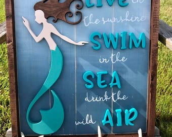 Handmade Wood MERMAID Sign Beach Decor MERMAID Wall Art