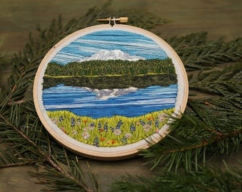 Reflection Lake Mount Rainier Hand Stitched Embroidery | Wildflower Hoop Art | Mountain Embroidered Wall Hanging | National Park Fan Gift