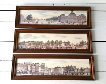 Vintage wood framed drawings/prints 'Amsterdam' (3pc)