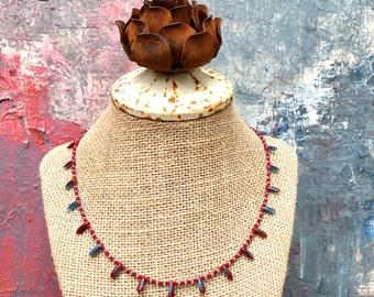 Red and Blue Glass Necklace