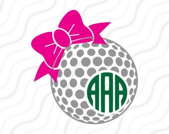 Golf Ball Bow SVG, Golf SVG, Golf Ball Bow Monogram SVG Cut table Design,svg,dxf,png Use With Silhouette Studio & Cricut_Instant Download