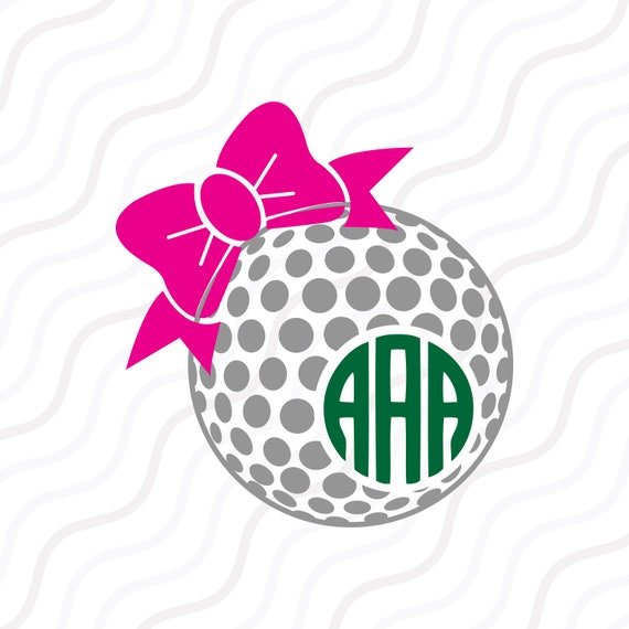 Download Golf Ball Bow SVG Golf SVG Golf Ball Bow Monogram SVG Cut
