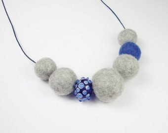 Necklace, necklace with felt beads, grey, blue