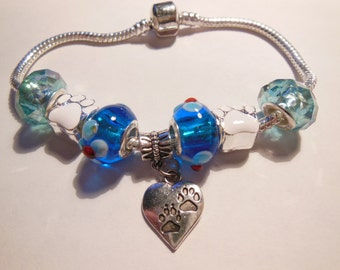 "Blue & White Love My Pet Bracelet 8"" Silver plated European"