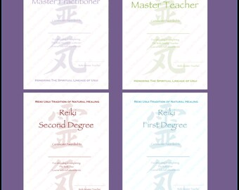 Reiki certificate etsy download complete set reiki certificates templates x4 portrait level 1 level 2 yelopaper Gallery
