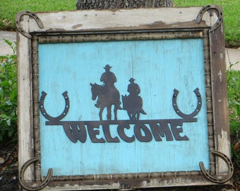 Welcome Cowboys,  Western Pictures. Shabby Chic, Distressed Metal, Vintage