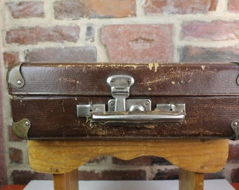 1950 Cardboard Suitcase Dark Brown Briefcase Travel Case Luggage Inside Cardboard Soviet Kofer Made in USSR Vintage