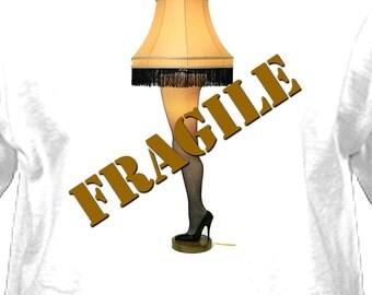 "Christmas Story ""FRAGILE"" Leg Lamp Youth/Adult T-Shirt White, Leg Lamp Tee -NEW"
