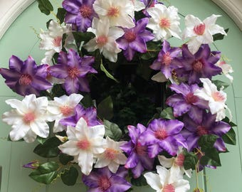 Gorgeous purple and white climbing clematis faux door wreath
