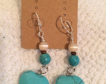 Heart, turquoise, earrings