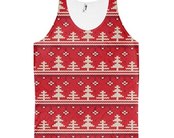 "Christmas Tree Knit - Unisex Tank Top - All-Over Print, Sublimation, ""Ugly Christmas Sweater""-style"