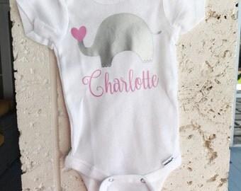 Elephant Baby Girl Onesie/Monogram Onesie/ Cute Elephant