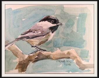 6 x 8 Chickadee Watercolor Original Painting, Chickadee Painting, Small Watercolor Chickadee, Chickadee Bird Painting, Brande Arno Painting