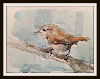 6 x 8  Watercolor Wren Print, Watercolor Wren No. 3, Bird Art Decor, Bird Lover Decor, Brande Arno Painting, Perched Bird Painting. Bird Art