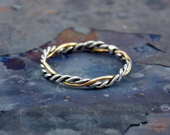 Sterling Silver and 14K Gold Fill Double Twist Flat Ring by Navillus Metal Works: