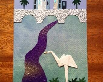 Handmade Origami LA River Heron Card