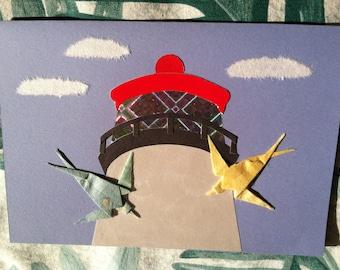 Handmade Origami Lighthouse Swallows Card