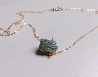 labradorite, Labradorite raw Necklace, labradorite gold filled necklace, Labradorite Necklace, 14k gold filled necklace ,Gift for her,