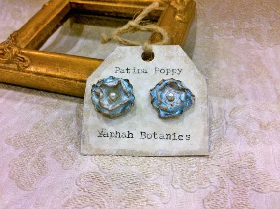 Blue Poppy Posts, Botanical Earrings