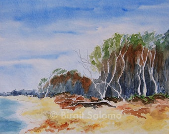Darß, West Beach, Baltic Sea, fine art print 20 x 30 cm, 30 x 40 cm poster, FineArt print 29, 7 x 42 cm, original watercolor and ink 36 x 48 cm