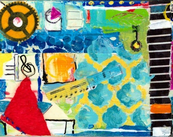 5X7 in. Abstract Mixed Media Art Original Canvas Panel Collage