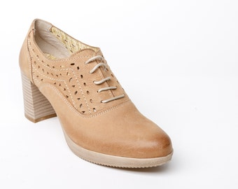 Women's high heel shoes, leather oxford women's shoes, laser cut decorated shoes, beige leather shoes, platform shoes, leather heels beige